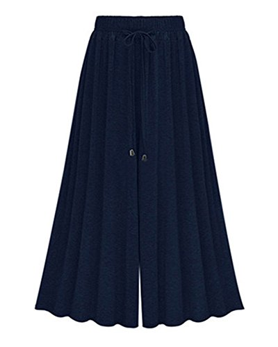 Mujeres Ancho Pierna Palazzo Pantalones Cintura Elástica Holgados Flojos Casual Capri Pantalon Tallas Grandes Azul marino /Longitud del tobillo