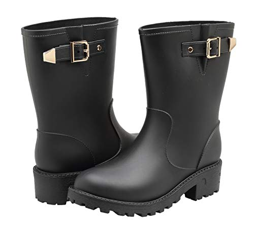 EYUSHIJIA Women's Short Rain Boots Waterproof Slip On Ankle Chelsea Booties (6.5 B(M), Black-B)
