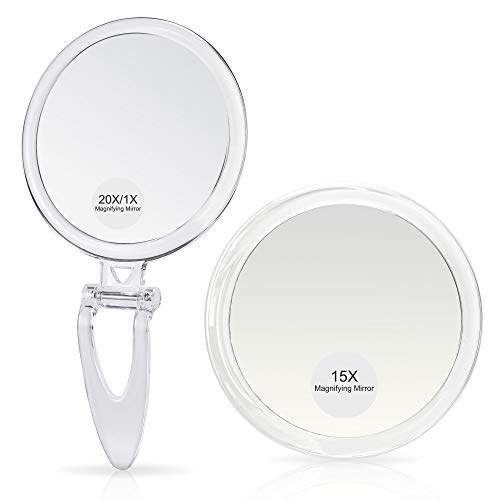 Magnifying Mirrors Combo, 6Inch 15X Magnified Mirror with Suction Cups and 5Inch 20X/1X Handheld Mirror, Perfect for…