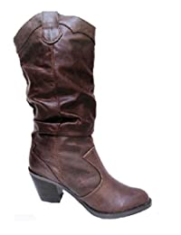 Soda Lode-H Women's Mid Calf Slouchy Western Cowboy Leatherette Riding Boots,