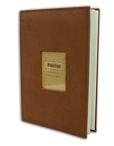"Golden State Art Photo Album, Holds 300 4""x6"" pictures, 3 per page, Suede Cover, Rusty Bronze"