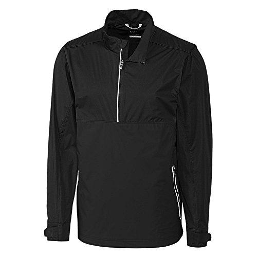 Cutter & Buck Men's Waterproof Packable Fairway Long Sleeve Half Zip Pullover, Black, X Large Shell Half Zip Mens Pullover