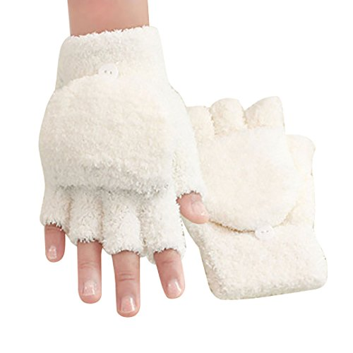 Women's Knitted Fingerless Mitten Coral Fleece Gloves With Flip Cover