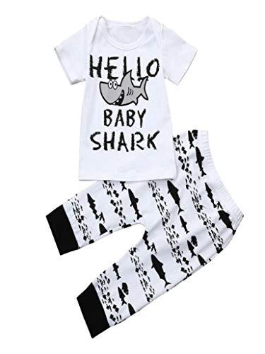 (Baby Boys Clothes 2PCS Outfit Set Letter Tops +Shark Print Pants (0-6 Months, White))
