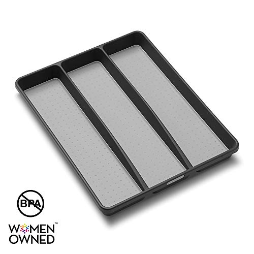 madesmart Classic Utensil Tray - Granite   CLASSIC COLLECTION   3-Compartments   Kitchen Organizer   Non-slip Lining and Rubber Feet   Easy to Clean   BPA-Free