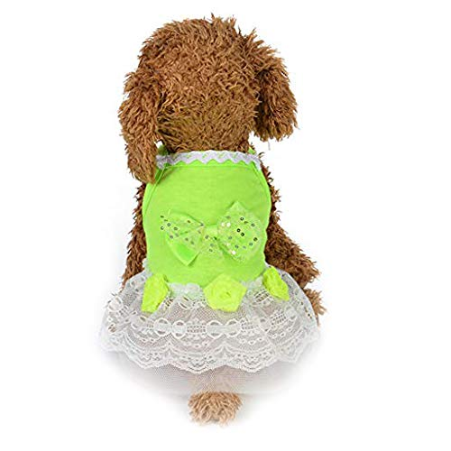 Geetobby Summer Puppy Dog Dress Thin Cute Princess Ribbon Skirt for Small Pets (Velvet Red Santa Harness)