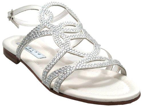 Albano 4694 Sandale Habillée À Lacets Femme Strappy Blanc