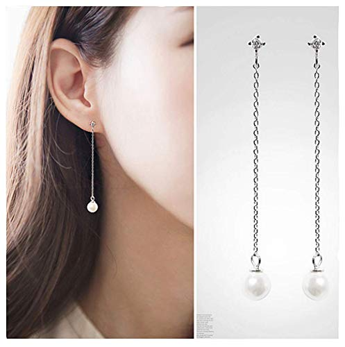 - A&C Fashion Korean Version Alloy Bead Chain Earrings for Women. Unique Handmade Dangle Jewelry for Girl. (Silver Color)