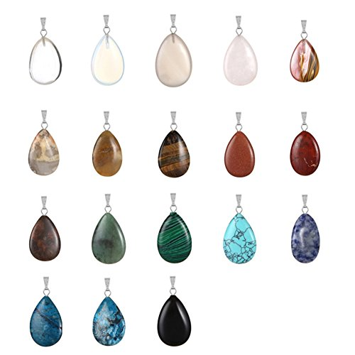 20pcs Teardrop Water Drop Shape Healing Chakra Charm Beads Crystal Quartz Stone Random Color Pendants for Necklace Jewelry Making