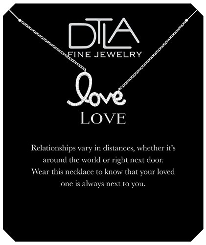 DTLA Cursive Love Necklace in Sterling Silver with Inspirational Love Message Card - Silver