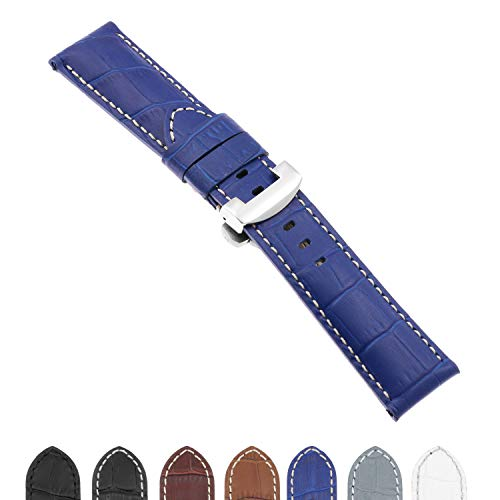 DASSARI Croc Crocodile Embossed Leather Men's Watch Band Strap with Polished Silver Deployant Deployment Clasp Compatible with Panerai - Extra Long - 22mm 24mm 26mm