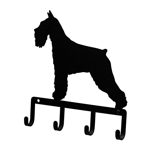 Pet Leash Holder (Iron Schnauzer Dog Key Rack / Jewelry Holder / Pet Leash Hanger - Black Metal)