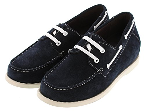 Calto G66190-2.4 Inches Taller - Height Increasing Elevator Shoes - Navy Blue Lace-up Casual Schoenen