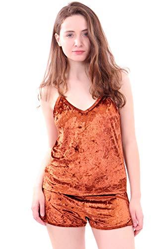 WuhouPro Women's Sexy Velvet Nightwear Lingerie Sleepwear Pajama Set Tanks and Shorts -AZ-6000-PUMPKIN-M