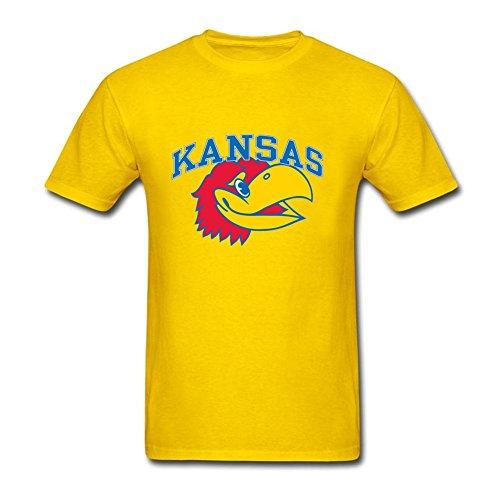 Funny Men Kansas Jayhawks Partial 100% Cotton Short Sleeve T-Shirt Yellow M Costume (Tennis Player Costumes)