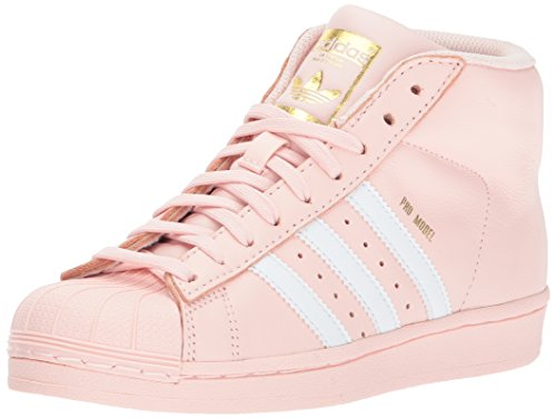 adidas Girls' Pro Model J Sneaker, Ice Pink/White/Metallic Gold, 4 Medium US Big Kid by adidas