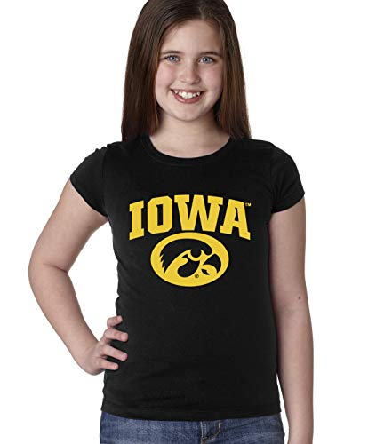 CornBorn Iowa Hawkeyes Youth Girls Tee Shirt - Arched Iowa with Tigerhawk Oval - Black - Large