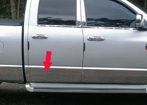 Made In USA! 1994-1997 Dodge Ram Regular Cab Long Bed Rocker Panel Chrome Stainless Steel Body Side Moulding Molding Trim Cover 8.5