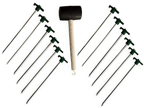KM Vulcano Tent Kit II , set of 12 Heavy Duty Tent Tarp Peg Stakes and Rubber Mallet with Hook