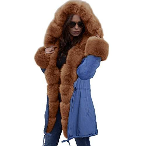 QIQIU Womens New Faux Fur Hooded Denim Fishtail Fleece Long Sleeves Overcoat Coat Winter Warm Plus Size Outwear