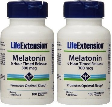 Life Extension Melatonin Time Released Vegetarian Tablets, 300 mcg, 100 Count (200)