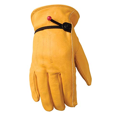 Leather Work Gloves with Adjustable Wrist, Medium (Wells Lamont 1132M) (Renewed)