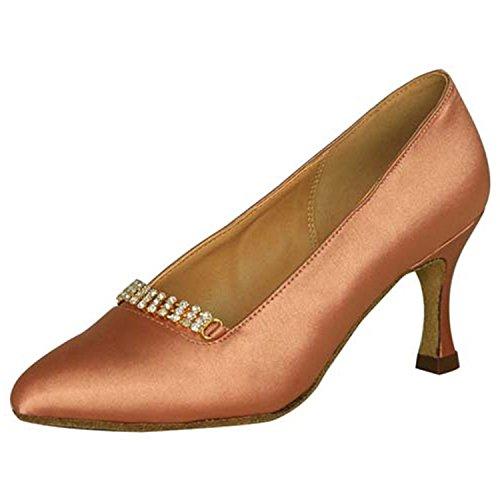 YFF Geschenke Frauen Dance Shoes Ballroom Latin Dance Tango Tanz shoes 7CM,Apricot color,40