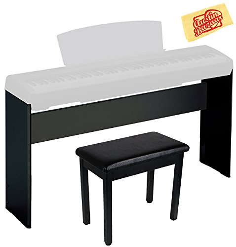 Yamaha L-85 Wooden Digital Piano Stand Bundle for P-35, P-85, P-95, and P-105 with Furniture-Style Bench, Dust Cover, and Polishing Cloth - Black