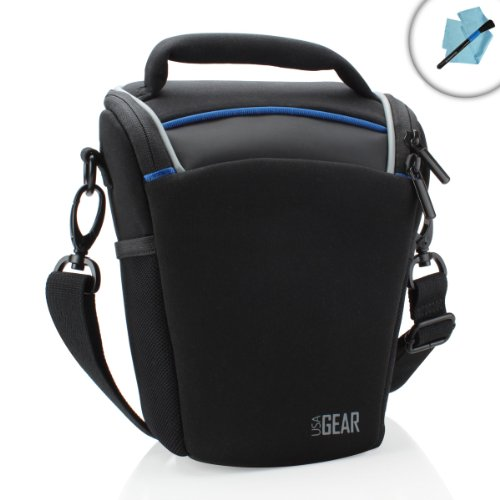 Soft Camera Case Top Loading - USA GEAR DSLR Camera Shoulder Sling Holster Case with Adjustable Dividers and Top Loading Accessibility - Compatible with Olympus Stylus E-5, Panasonic Lumix DMC-FZ300, Samsung NX1 and More