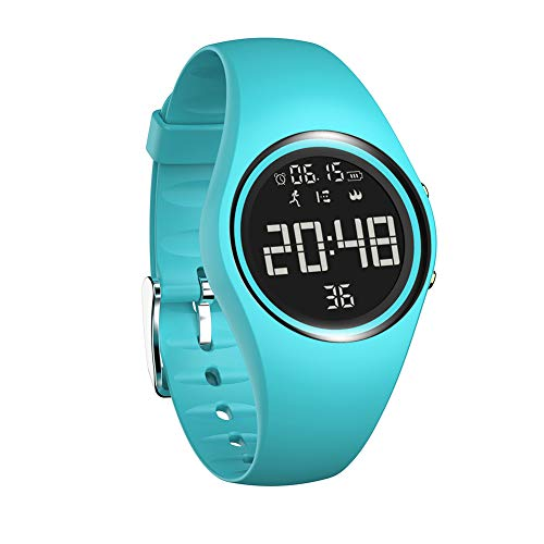 Sports Silicone USB Charge Round Dial Unisex Pedometer Smart Digital Wrist Watch - Blue