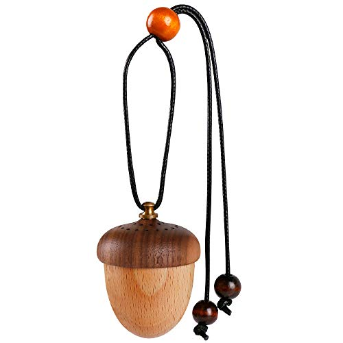 (Car Diffuser for Rear View Mirror Hanging Essential Oil Car Diffuser Car Perfume Bottle Car Aromatherapy Car Decoration Car [Wooden Acorn])