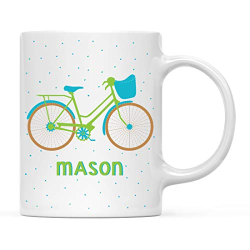 Andaz Press Personalized 11oz. Kids Hot Chocolate Mug, Green and Blue Bike, 1-Pack, Custom Child's Bicycle Birthday Christmas Coffee Cup