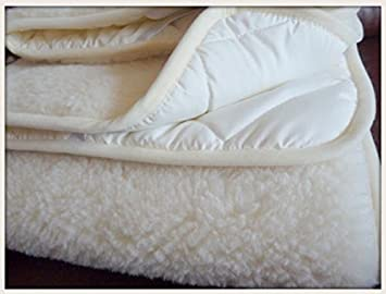 Funda colchón de lana Merino, de 90 x 190 cm con elásticos en las esquinas: Amazon.es: Hogar