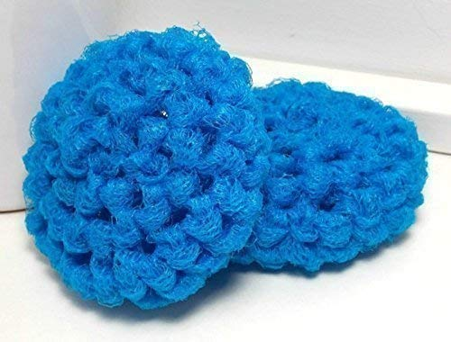 (Handmade Turquoise Blue Reusable Dish Scrubbers Set of 2 )