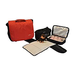 Obersee Madrid Convertible Diaper Backpack Messenger Bag, Red
