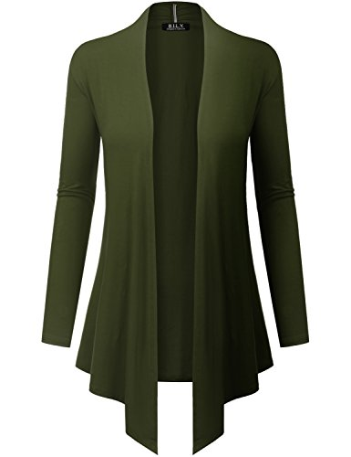 Because I Love You Women's Open Front Drape Hem Lightweight Cardigan - Small - Olive ()