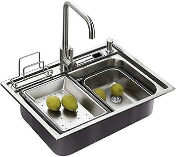 HomeLava Fregadero de cocina de un taz/ón 60x45cm Fregaderos de cocina de acero inoxidable Fregadero de cocina de acero inoxidable 304 con escurridor y cesta de agua