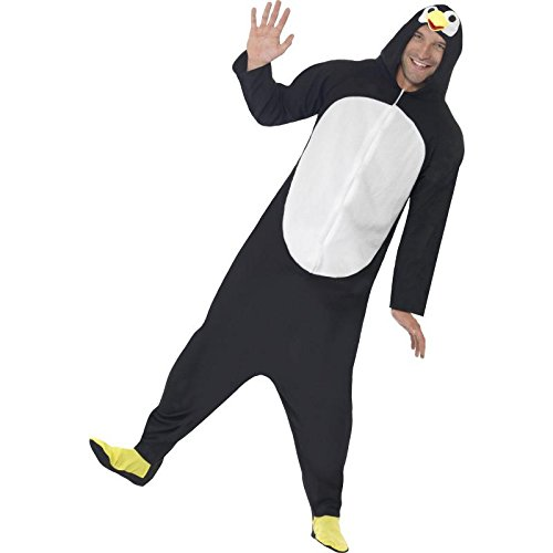 Smiffy's Men's Penguin Costume, Hooded All in One, Party Animals, Serious Fun, Size XL, 23632