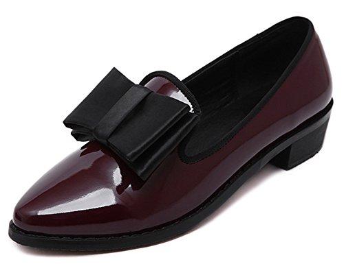 Idifu Womens Dressy Bow Wide Puntige Teen Slip Op Flats Pumps Schoenen Wijnrood