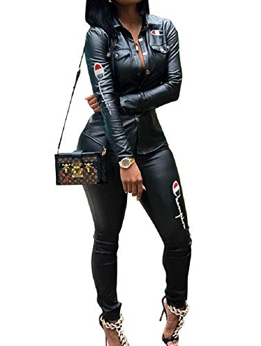 Verchirs Women's Club Faux Leather 2 Piece Outfits Bodycon Long Sleeve Button Jacket Long Pants Jumpsuits Plus - Size Plus Club Women Clothes