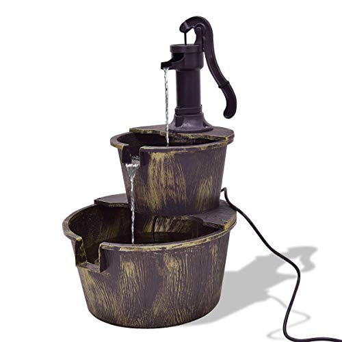 (Snow Shop Everything Perfect for Your Garden or Patio with 2 Tiers Outdoor Barrel Waterfall Fountain with Pump Provides Visual and Auditory Beauty for You)