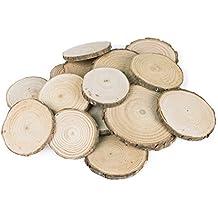 Mini Assorted Tamaño rodajas de madera natural de color corteza Ronda Log Discos para colgar decoraciones Arts & Crafts, Home, Event ornamentos (5–8cm, 20pcs) por Super Z Outlet