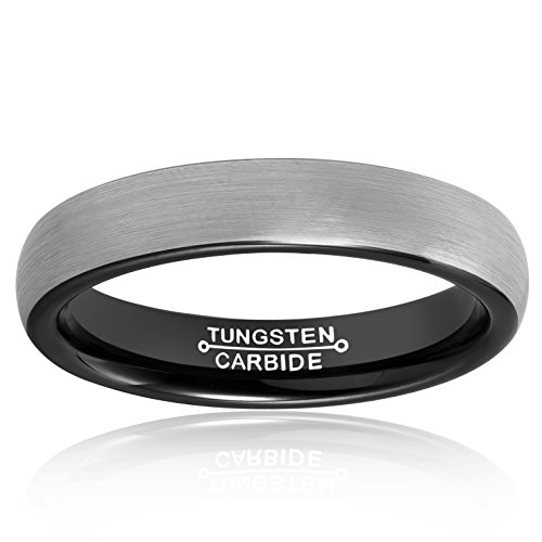 MNH Mens Rings Tungsten Carbide Black Plated Women Wedding Engagement Band Comfort Fit Matte Finish by MNH (Image #2)