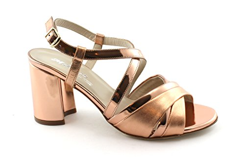 Sandalias Rosa Correa Mujer S529 Talón Melluso Salmón Cuero Zapatos C0xpqxU7w