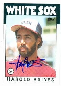 1986 Topps Autographed Card - Harold Baines autographed baseball card (Chicago White Sox) 1986 Topps #755