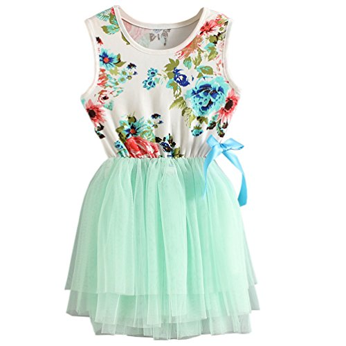 (Csbks 1 2 3 4 5 Years Kid Girls Cute Floral Sundress Tulle Tutu Skirt Tank Dress 12 Months Light Green)