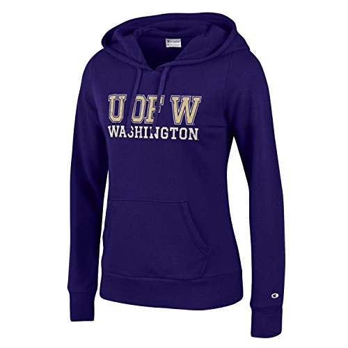 (Champion NCAA Women's Comfy Fitted Sweatshirt University Fleece Hoodie Washington Huskies Large)