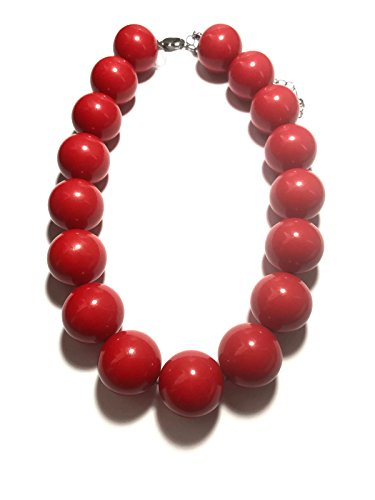 Leetie Lovendale Cherry Red Marco Necklace | Vintage Lucite Beaded Chunky Statement Necklace