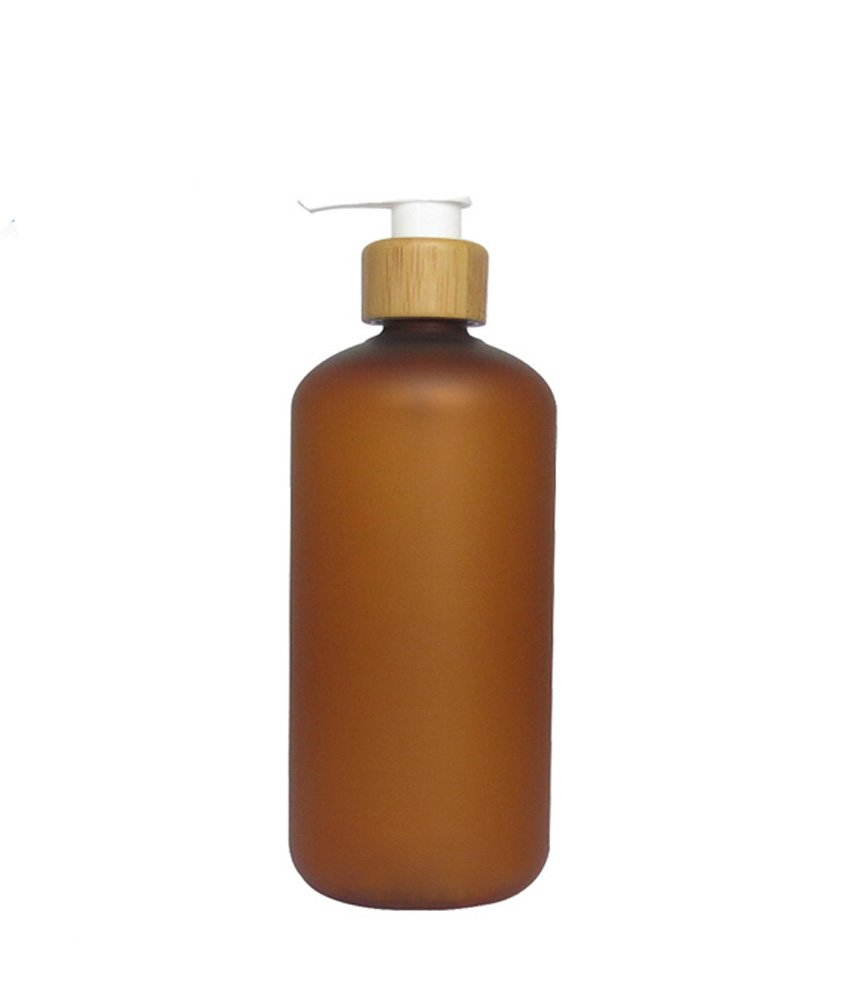 250ml 8oz Empty Refillable Amber Frosted Plastic Shampoo Shower Gel Packing Bottle Container Jar With Natural Bamboo Pump For Makeup Cosmetic Bath Soap Liquid Toiletries by Erioctry
