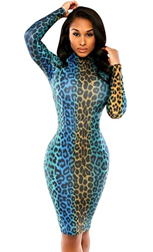 Xmenhere Mengkai Women's High Collar Polka Dot Print Pleated Tunic Pencil Dress Blue Asian L